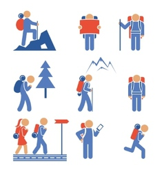 Set of colored hiking icons vector image vector image