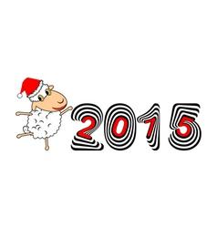 A funny Christmas cartoon sheep vector image