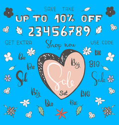 cartoon big sale set make your own sale banner vector image vector image
