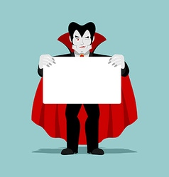 Dracula keeps clean sheet Vampire and white banner vector image