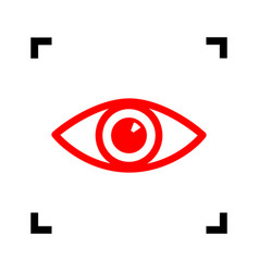 eye sign red icon inside vector image