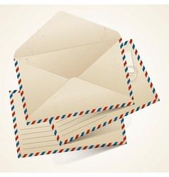 Stack of old vintage envelopes vector image vector image