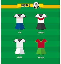 Brazil Soccer Championship 2014 Group G team vector image vector image