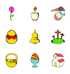 easter bunny icons set cartoon style vector image vector image