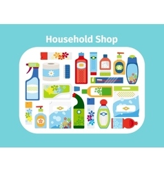 Household shop icon set vector image