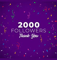 2000 followers network social media vector