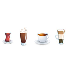 a set of cups with various hot drinks isolated vector image