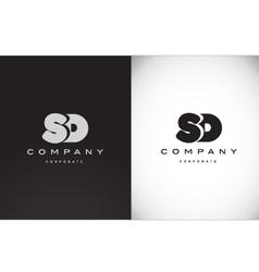 Alphabet letter S D balck white grey logo icon vector