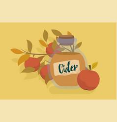 Apple cider in glass jar flat cartoon style vector
