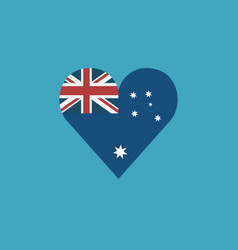 australia flag icon in a heart shape in flat vector image