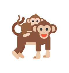 Baby monkey riding piggyback with mom vector