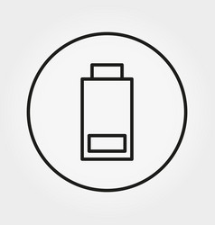 battery with minimum charge icon line a vector image