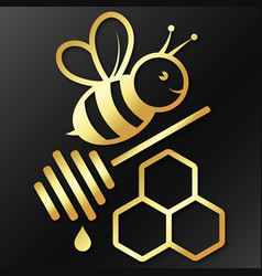 bee and honeycomb golden symbol vector image