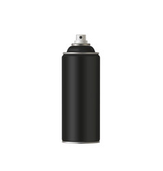 Black paint aerosol spray metal bottle can vector