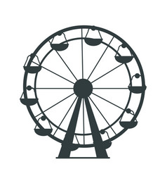 Black silhouette of ferris wheel with lots of cabs vector