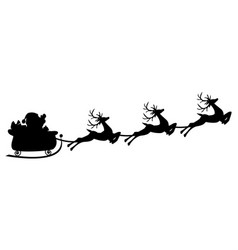 black silhouette of santa flying in a sleigh with vector image