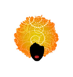 blonde curly afro hair portrait african woman vector image