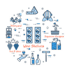 blue round wine shelves concept vector image