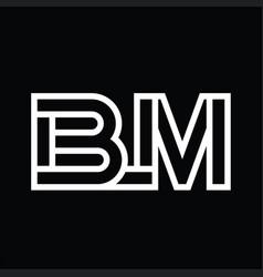 Bm logo monogram with line style negative space vector