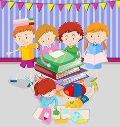 Boys and girls reading books in class vector