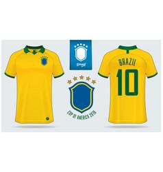Brazil soccer jersey or football kit mockup vector