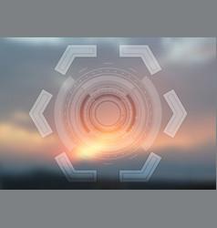 bright technology hud design on sunset background vector image