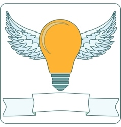 Bulb lamp with wings vector
