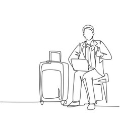 business travel journey concept one line drawing vector image