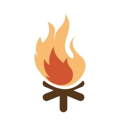 Campfire flame wood icon vector