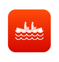 Canoeing icon digital red vector