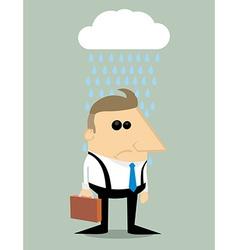 Cartoon businessman in rain under a cloud vector image