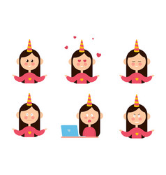 cartoon set of funny female people expressing vector image
