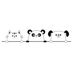 cat dog panda bear happy face head icon contour vector image