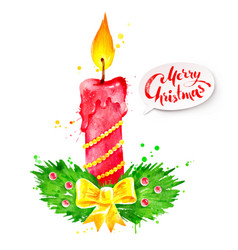 Christmas watercolor of candle vector