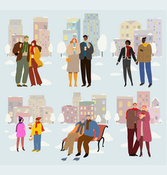 couples in love outdoors spend time together vector image