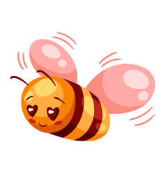 Cute bee in love valentine day vector