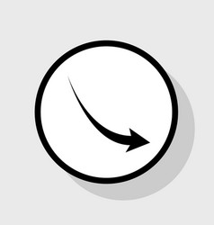 Declining arrow sign flat black icon in vector