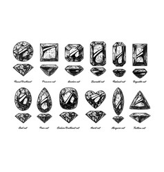 diamond cuts and shapes vector image