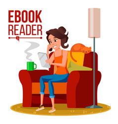 E-book reader girl online library using vector