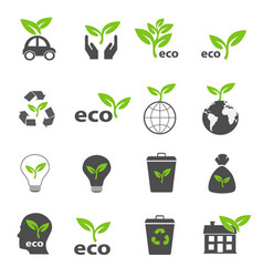 ecology and nature green icons set vector image
