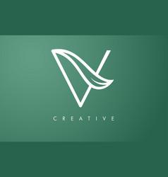 Elegant v letter leaf logo design with outline vector