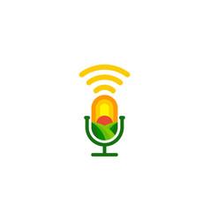 Field podcast logo icon design vector