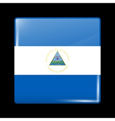 Flag of Nicaragua Glossy Icon Square Shape vector image vector image