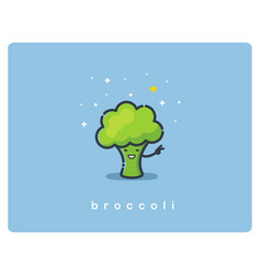 flat icon of broccoli cute vegetable cartoon vector image