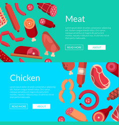 flat meat and sausages icons web banner vector image