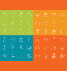 food icons set fruits vegetables fast food and vector image