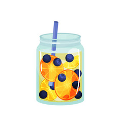 fruit detox water in transparent glass jar with vector image