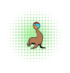 Fur seal circus comics icon vector