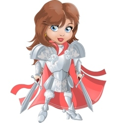 Girl knight in armor vector