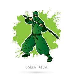 green ninja and sword vector image